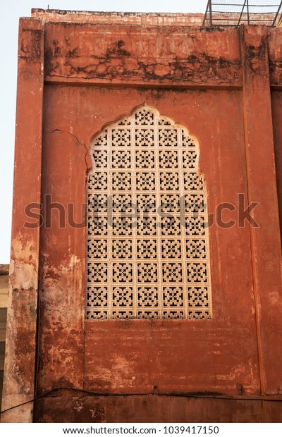 A window of an the Palace of Winds. East style. Hawa Mahal. India