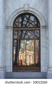 Window Pane With Reflection Of Independence Hall