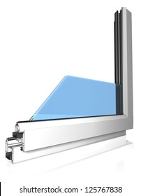 Window profile with glass on white