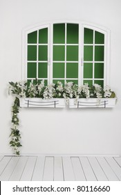 window is ready for your scene with flowers in the room which is covered wooden floor