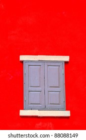 window in red brick wall from outside. Vector illustration.