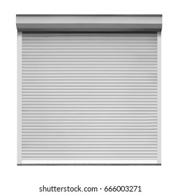 Window with roller shutters on white background