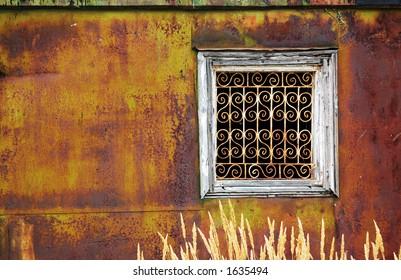 Window of a rusty building