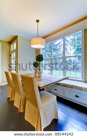 Tremendous Window Seat Breakfast Table Near Kitchen Stock Photo Edit Ncnpc Chair Design For Home Ncnpcorg
