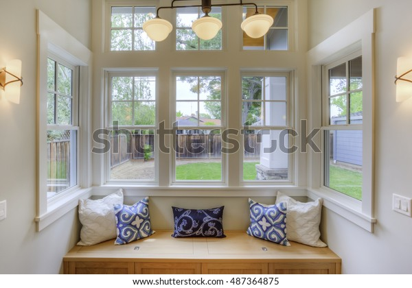Groovy Window Seat View Yard Large Windows Stock Photo Edit Now Ocoug Best Dining Table And Chair Ideas Images Ocougorg