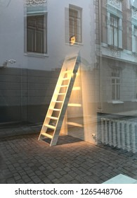 Window with shadow of house and stairs to the lite
