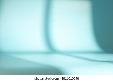 Window shadow on blue space. Background for product presentation