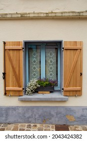 Window with shutters closeup, Montreuil sur Mer, France