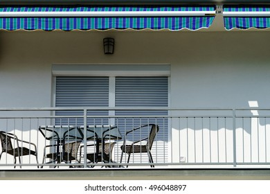 Window with shutters closeup view, sunny day on sea resort, Croatia