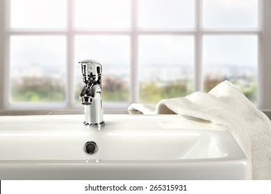 window sill and bathroom interior with white towel