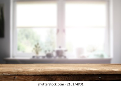 window space in home and desk of wood