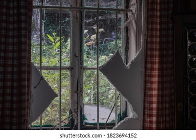 window with styrofoam in a room from a old house in forest