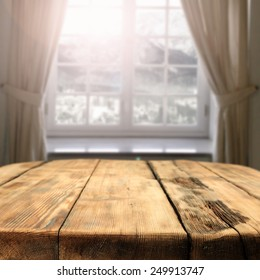 window table of wood and sunny day of winter with free space for you
