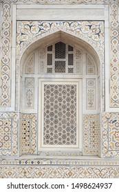 Window at Tomb of Itimad Ud Daulah or Baby Taj Mahal in Agra , India
