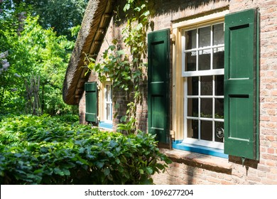 Window of a traditional dutch building at Arnhem open  air and national heritage  museum, in Arnhem, Netherlands