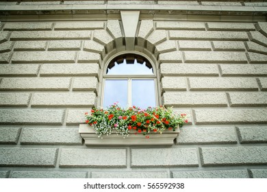 A window with typical flower box in Bern, Switzerland