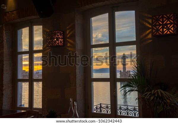 Window view at chania, Crete