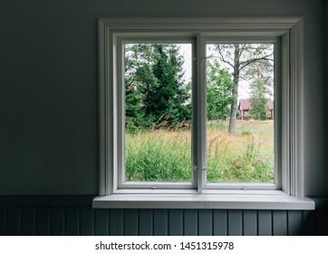window view garden background. finland classic landscape
