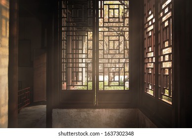 The window view at Garden of Cultivation(Yi Pu) is a classical garden in Suzhou,Jiangsu,China.Bulit on 1541,registered in the World Heritage List with classical gardens.