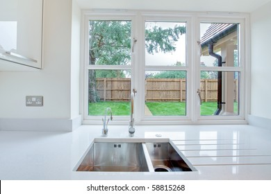 Window view overlooking garden from kitchen sink