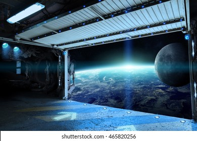Window view of planet earth from a shuttle runway 'elements of this image furnished by NASA' '3D rendering'
