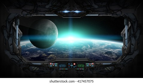 Window view of planet earth from a space station 'elements of this image furnished by NASA' '3D rendering'