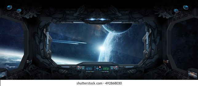 Window view of space and planets from a space station 3D rendering elements of this image furnished by NASA