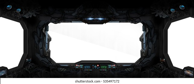 Window view from a space station in space white background 3D rendering