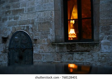 window with warm light