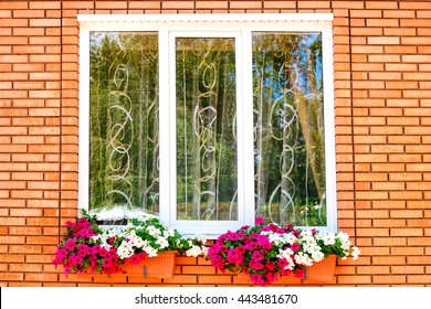 Window with white frame, curtains and beautiful red and pink flowers on a brick wall