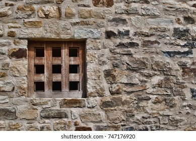 Window with wooden bars, medieval architecture