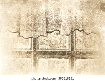 Window with wooden frame and crocheted curtain with the sunshine shining in, textured in sepia tones with scratches and stains for a romantic feeling.