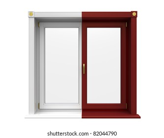 Window of wooden two shades on a white background
