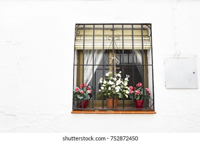 window with wrought iron bars and shutters in whitewashed white facade and pots with flowers and geraniums