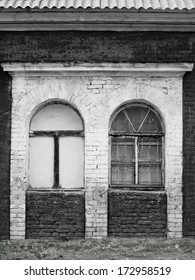 Windows in an abandoned complex, monochrome image