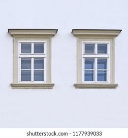 Windows of an ancient building. Old PILSEN, CZECH REPUBLIC, 2018.
