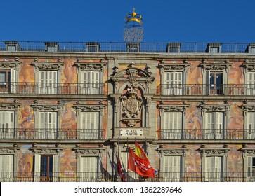 Windows and Balconies on the casa de la panaderia, Plaza Mayor, Madrid, Spain