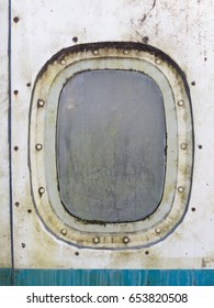 Windows of the blue airplane - copy space