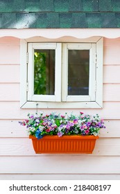 Windows and bouquet of flower