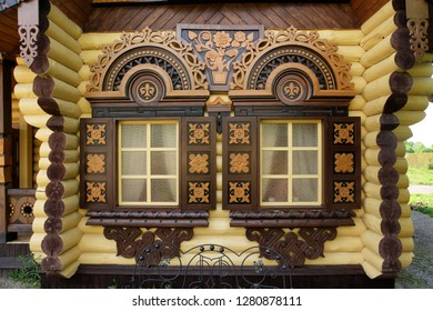 Windows with carved frames on wooden house in Pereslavl-Zalessky city (Russia)