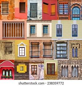 Windows collage / Colorful windows / Windows montage