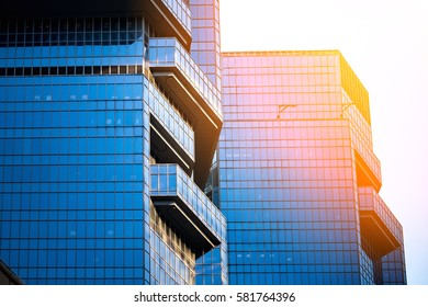 windows of commercial building in Central, Hong Kong at Feb 2017