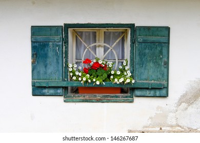 windows of a country house on Kapuzinerberg, Salzburg, Austria