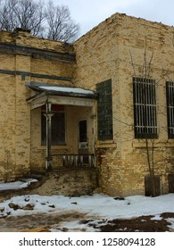 Windows and door in brick building at Traverse City Michigan insane asylum