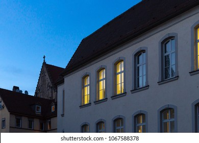 windows facades at blue hour in historical romantic city springtime evening in south germany