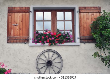 Windows of the french country house, Haute Savoie