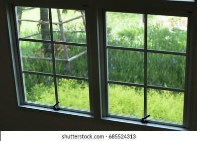 Windows with garden view, focus on the windows