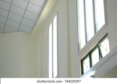 windows glass of meeting room in school.