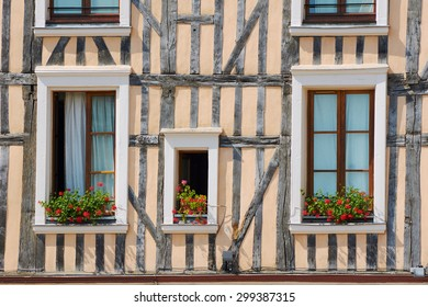 Windows in half-timbered house in Troyes in France