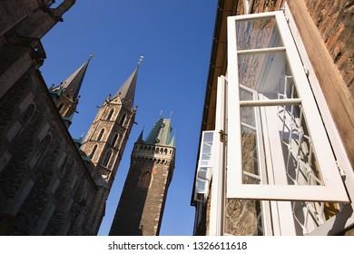 windows to heaven, St. Bartholomew's Church in City Kolín, Czech Republic,